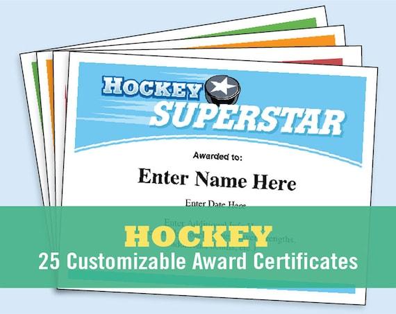 Hockey Certificates Editable Kid Certificates Child Hockey Etsy