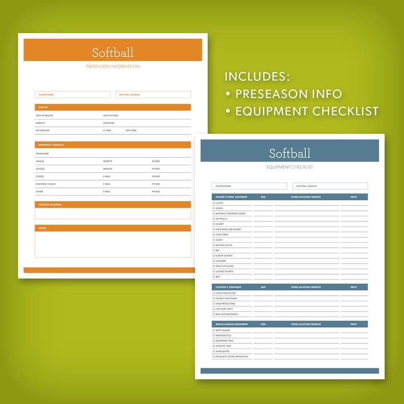 The Softball Mom Planner – 8 Fillable Forms for Organizing the Season,  digital forms, softball mom, softball parent, softball coach