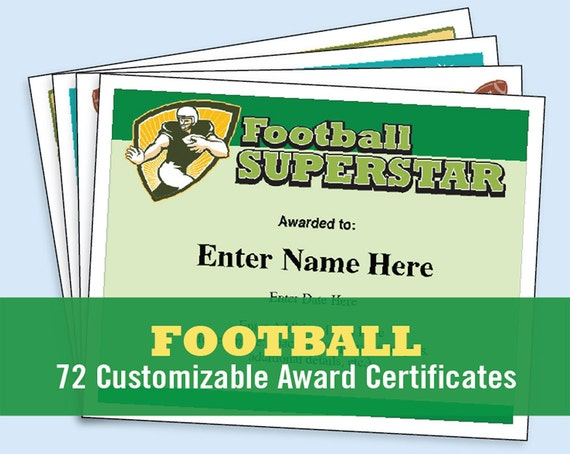 Football Certificates Templates Youth Football Kid Etsy