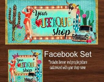 Facebook timeline set, Western Theme, Facebook Business set, Digital File, Facebook cover & profile