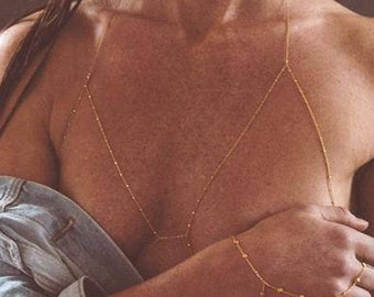 18k gold vermeil or sterling silver body chain, gold body chain, silver body chain, body chain bra, chain bralette, body chain with beads