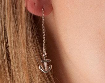 silver anchor threader earrings, anchor chain earrings, anchor charm earrings, anchor threaders, nautical threaders, nautical jewelry