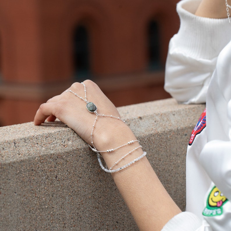silver handchain layered hand piece silver handlet labradorite hand chain labradorite talisman handchain sterling silver hand chain