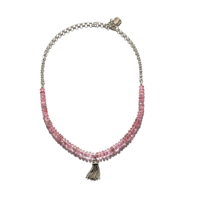 pink topaz gemstone necklace gemstone choker pink topaz necklace tassel necklace gemstone charm necklace tassel choker festival choker
