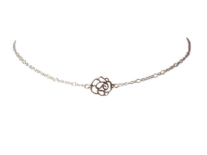 8e2f6367b8 Silver flower choker necklace dainty choker chain dainty   Etsy