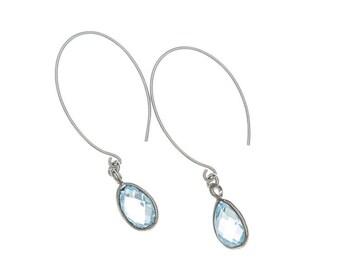 blue topaz dangle earrings, december birthstone earrings, blue gemstone earrings, topaz birthstone earrings, anniversary jewelry