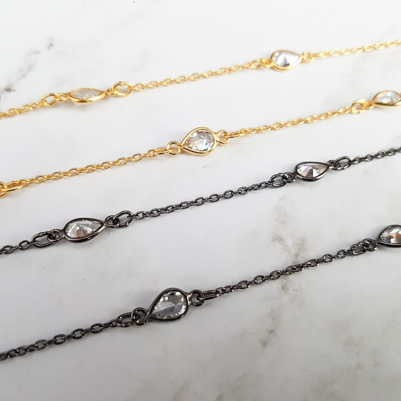 gold diamonds by the yard choker diamond choker gold wrap bracelet or choker with pear-shaped multi-faceted CZ stones diamond necklace