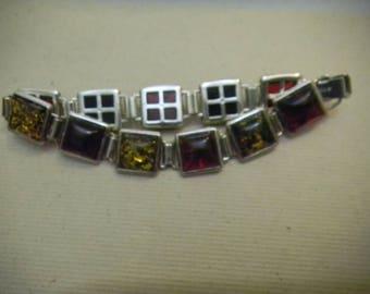 Genuine Amber Squares Bracelet Sterling Silver Hallmarked 925 UV Light Tested