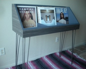 Vinyl Record Storage Stand and Display on Hairpin Legs | Holds 200 LP's | Kallax Alternative