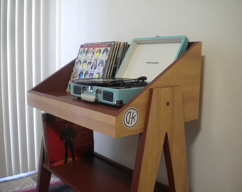 Record Player Stand and Vinyl Record Storage Console