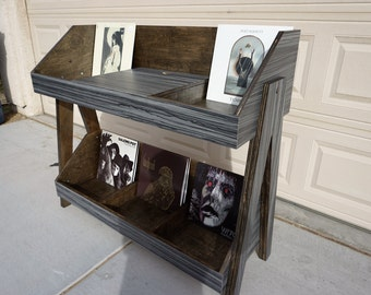 Record Player Stand and Vinyl Storage Console | Holds 400 LP's |