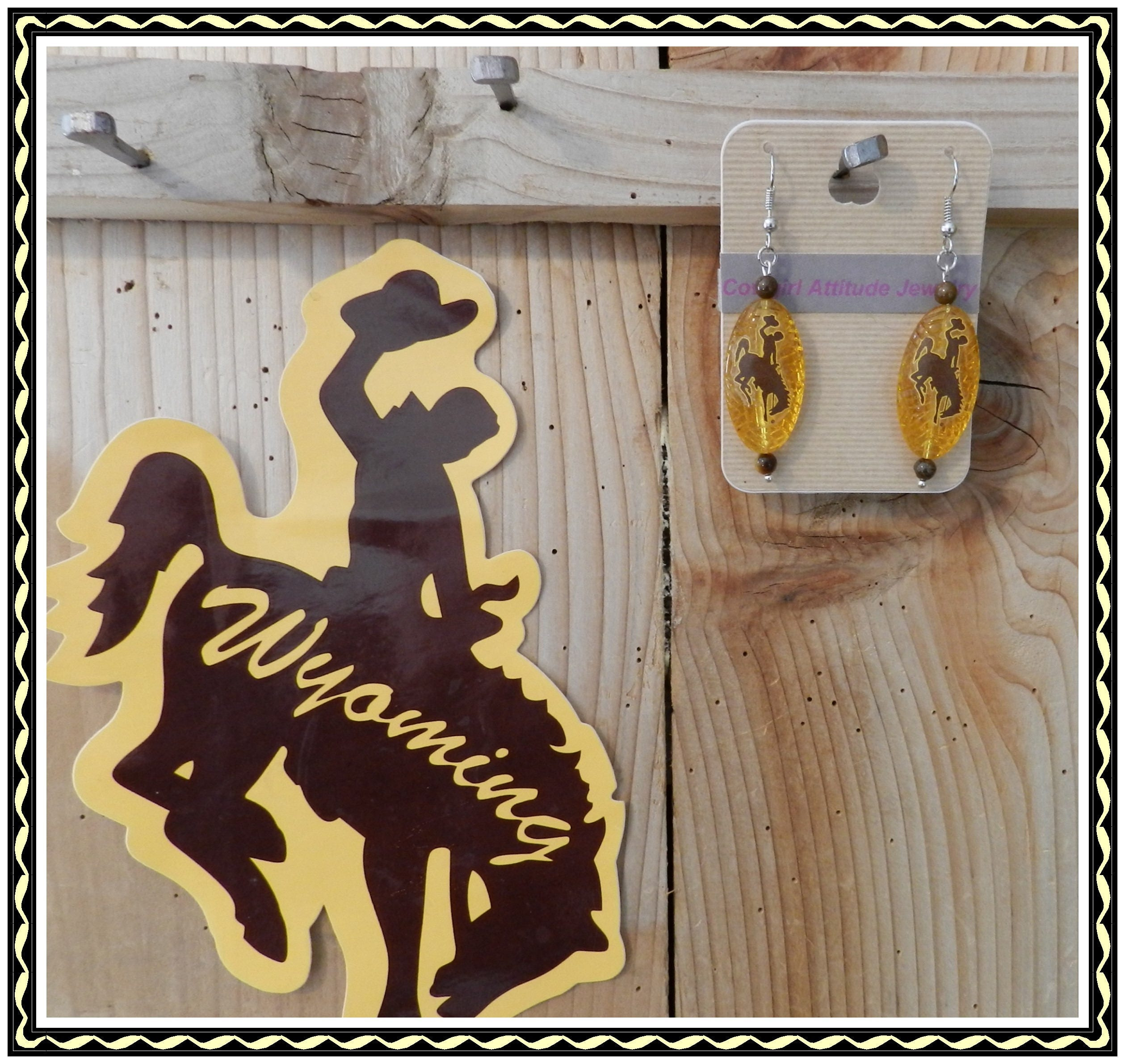 University of Wyoming Brown and Gold Bucking Horse Earrings