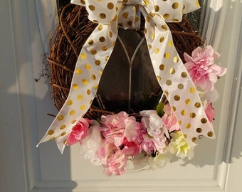 Spring Pink White and Gold Door Wreath