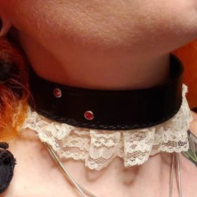 Handmade Leather Vampire Bite Choker with Lace