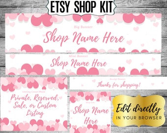 Candy Hearts Etsy Shop Kit w big Valentine/'s Day candy design float layer border and shop icon /& receipt banners; listing cover mini