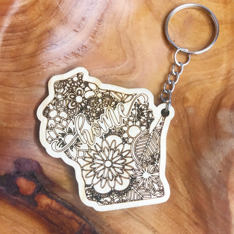 Wisconsin Home Key Chain Wisconsin Gift for Him Wisconsin Wood Keychain Wisconsin Theme Gifts WI Home Keychain