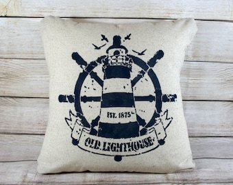 Throw Pillow - Lighthouse, Nautical Decor