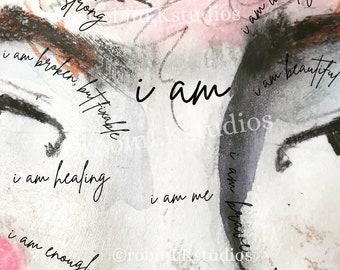 Mixed media collage paper; I AM; digital download; art journaling
