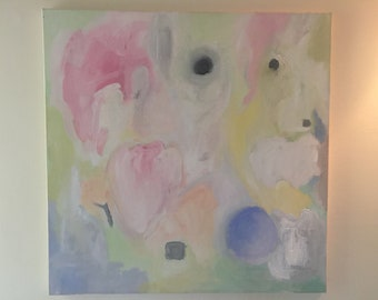 """Original Square (24 x 24) Pastel Abstract Painting - Modern Art by Kate Buckley Fine Art - """"Venus"""" - Ready to Hang - Free Shipping in USA"""