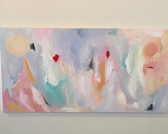 "Original Rectangular (18 x 36) Pink, Purple & White Abstract Painting - Modern Art - Kate Buckley - ""Ara"" - Ready to Hang - Free US Shipping"