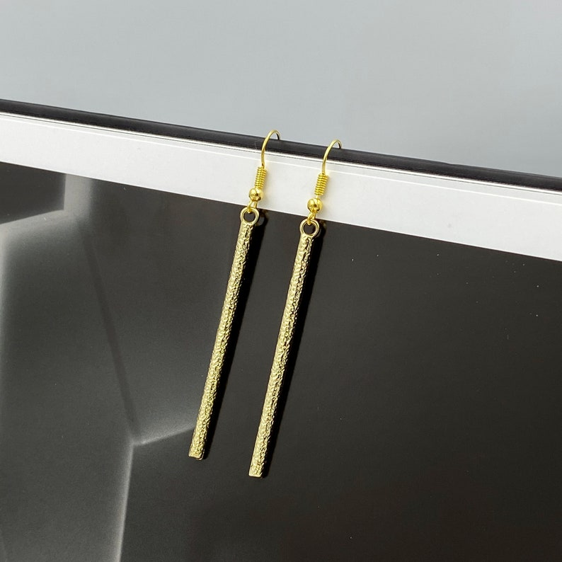 Gold Bar Earrings Bar Earrings Textured Bar Earrings Stick Earrings Minimalist Bar Earrings Gold Sticks Earrings Geometric Earrings