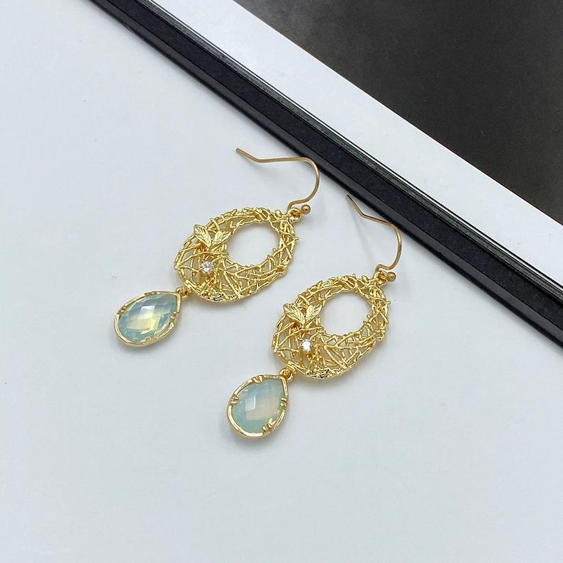 Gold Wreath Filigree Earrings Powder Blue Teardrop Earrings Gold Dangle Earrings Blue Teardrop Earrings Wedding Jewelry Lace Earrings