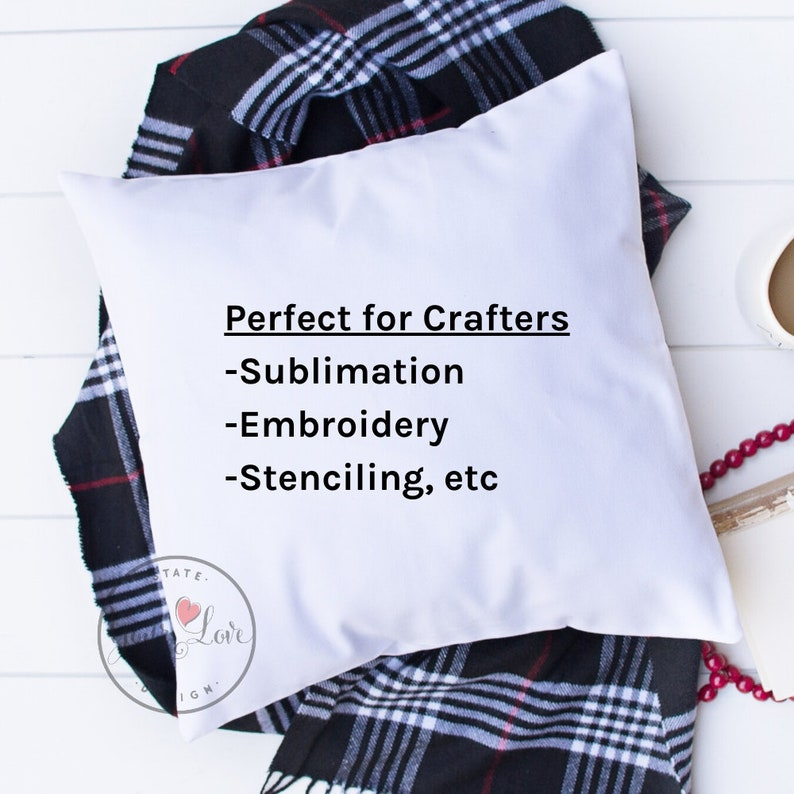 Embroidery WHITE or NATURAL PolyCotton Canvas Pillow Covers Lot of 25 18x18 Sublimation Pillow Blanks For Dye Sub Wholesale HTV