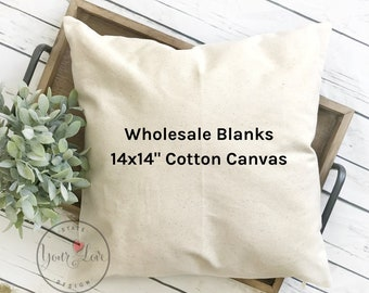 14x14 | Blank Pillow Covers | 10oz WHITE or NATURAL Wholesale Cotton Canvas Pillow Blank | Perfect For Stencils, Painting, Embroidery, HTV