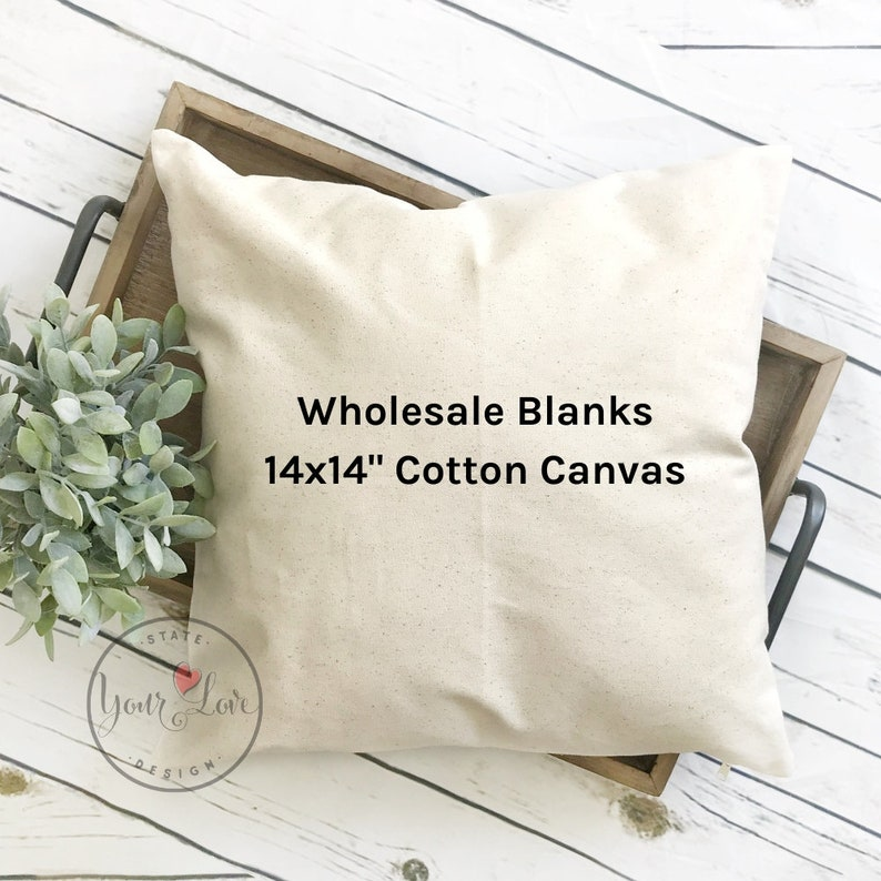 14x14  Blank Pillow Covers  10oz WHITE or NATURAL Wholesale Natural