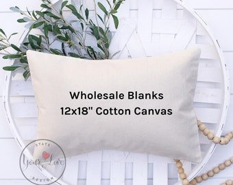 12x18 Pillow Cover Blanks | 10oz WHITE or NATURAL Wholesale Cotton Canvas Pillow Cover Blank | Perfect For Stencils, Painting, Embroidery