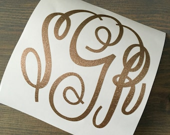 Glitter Monogram - Monogram Vinyl Decal - Car Decal - Glitter Monogram Sticker - Laptop Tumbler Cup Sticker - Glitter Vinyl