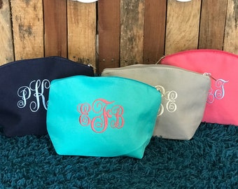 Monogram Cosmetic Bag - Embroidered Monogram Makeup Bag - Monogram Toiletry Bag - Monogrammed Cosmetic Bag - Embroidery Monogram