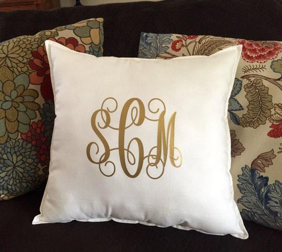 Monogram Pillow Monogrammed Throw Pillow Square Throw Etsy Mesmerizing Monogrammed Decorative Throw Pillows