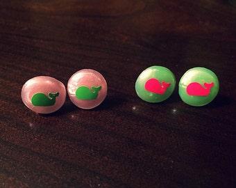 Whale dot button stud earrings