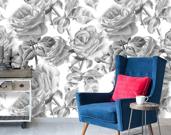 Monochrome Roses Black And White Floral Removable Repositionable  Self Adhesive Peel And Stick Wallpaper Mural Print