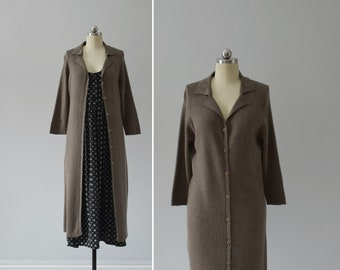 ash brown duster cardigan / vintage long ribbed sweater coat / womens S - M