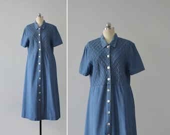 denim button dress / vintage short sleeve jean midi dress / womens M