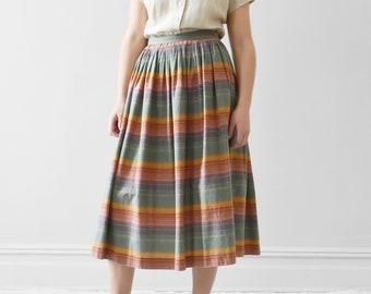 4d8122fb41072a vintage striped cotton midi skirt / M