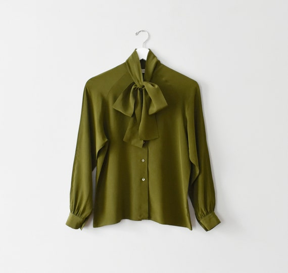 vintage silk tie neck blouse, olive green button … - image 1