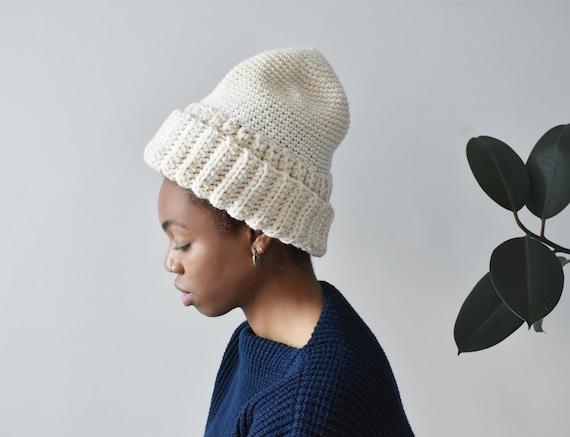 vintage hand knit fisherman hat, chunky cream wool