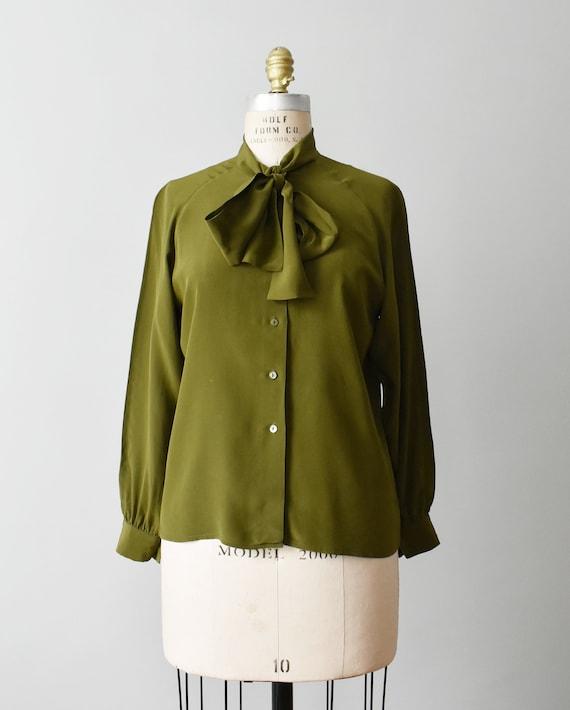 vintage silk tie neck blouse, olive green button … - image 2
