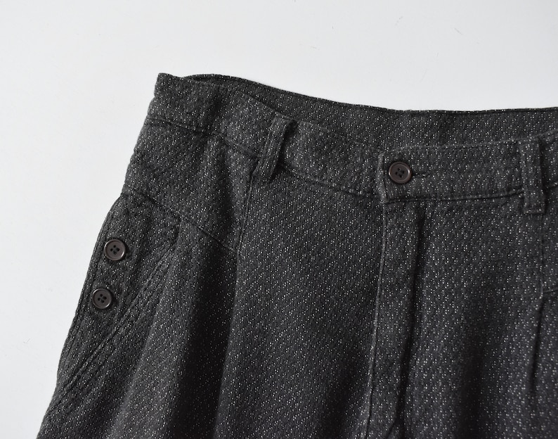 vintage woven cotton trousers  high waist tapered pants  M