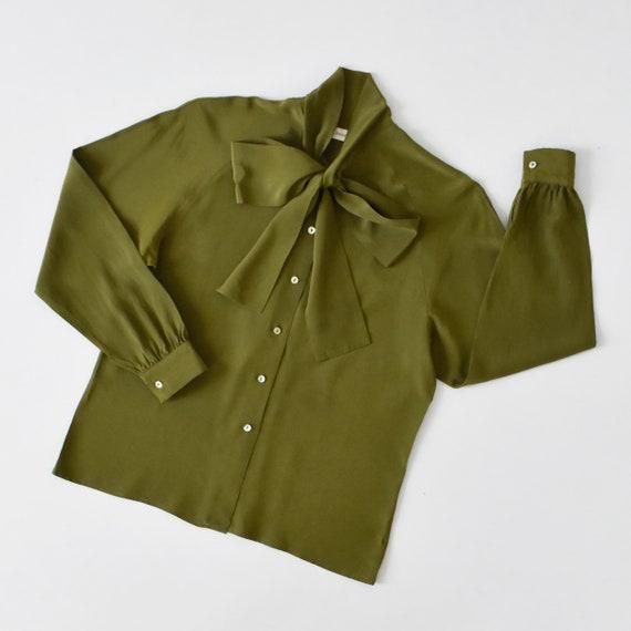 vintage silk tie neck blouse, olive green button … - image 3