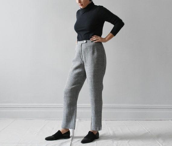 252ea5d801 vintage woven linen trousers   high waisted gray pants   M L