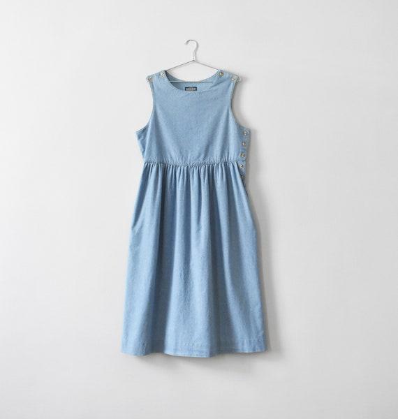 vintage denim pinafore jumper dress, size L