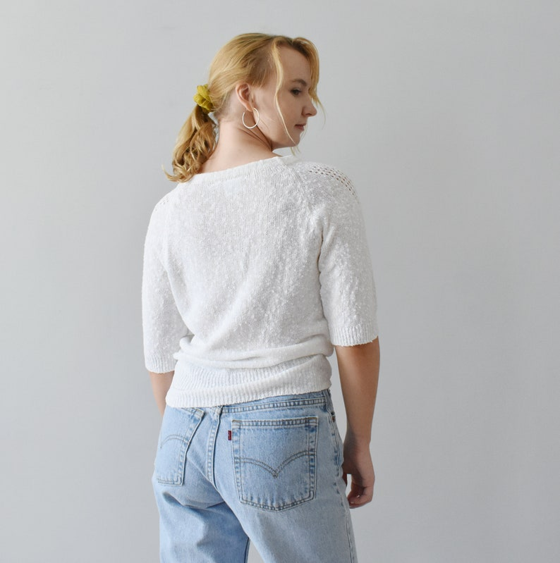 vintage white knit top  short sleeve pullover  M