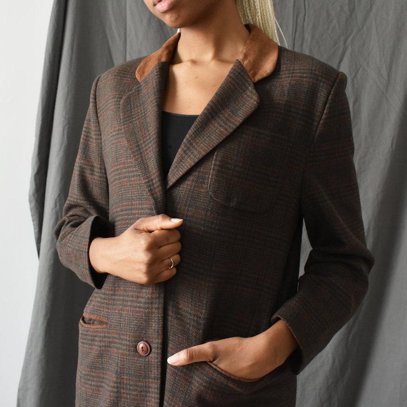 M vintage wool blazer with leather collar  90s brown plaid tweed jacket  S