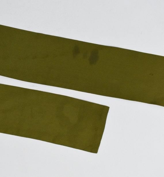 vintage silk tie neck blouse, olive green button … - image 8