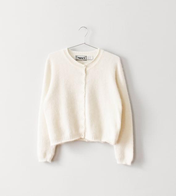 vintage soft angora cardigan sweater, size M