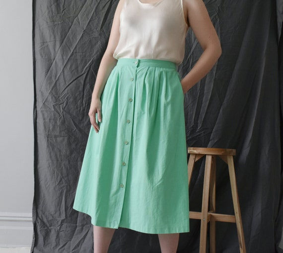 vintage mint green button front midi skirt, size M